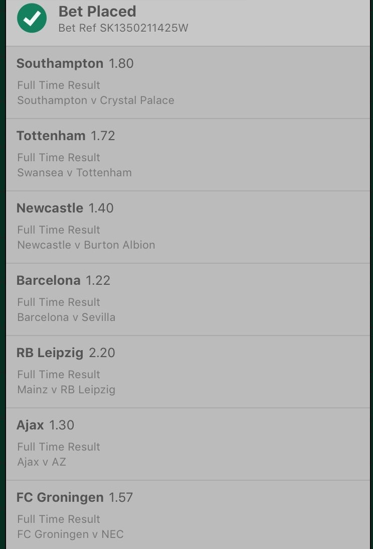 23 Odd bet Accumulator ticket