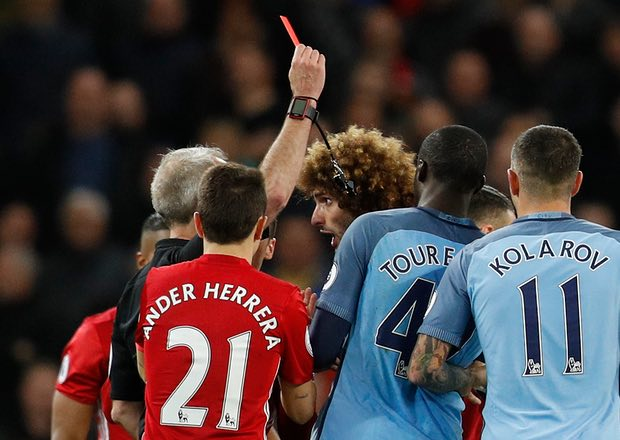 Manchester United suffered a red card from Fellaini